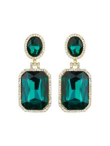Rectangle stone marquise drop earring