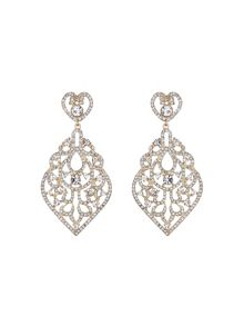 Large oval fillagary crystal earring