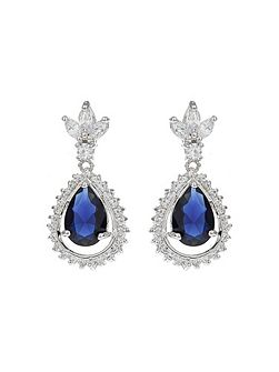 Oval Cubic Marquise Surround Drop Earrin