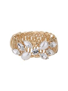 Crystal flower pearl ring cuff bracelet