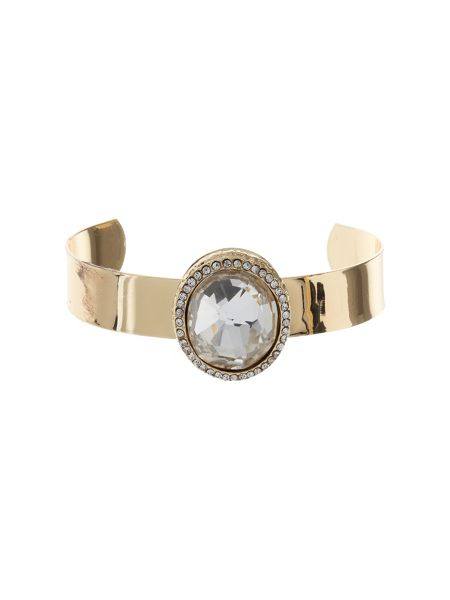 Mikey Raised oval stone on cuff bangle