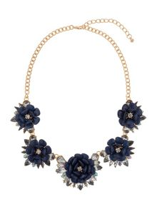 Multi enamel flower linked necklace