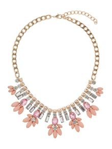 Mikey Crystal enamel flower hanging necklace