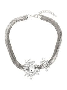 Flat woven chain crystal necklace
