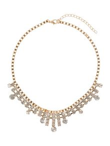 Box chain spike crystal drops necklace