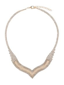 Mesh crystal pendant linked necklace