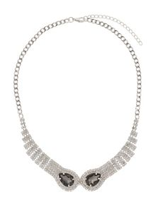Twin snake head linked crystal necklace