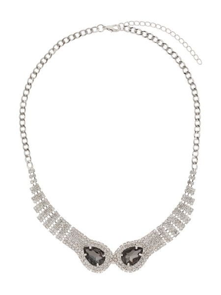 Mikey Twin snake head linked crystal necklace
