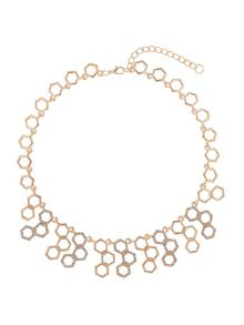Hexagon design links crystal necklace