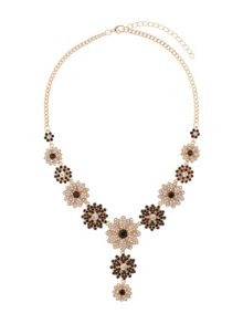 Crystal flowers linked necklace