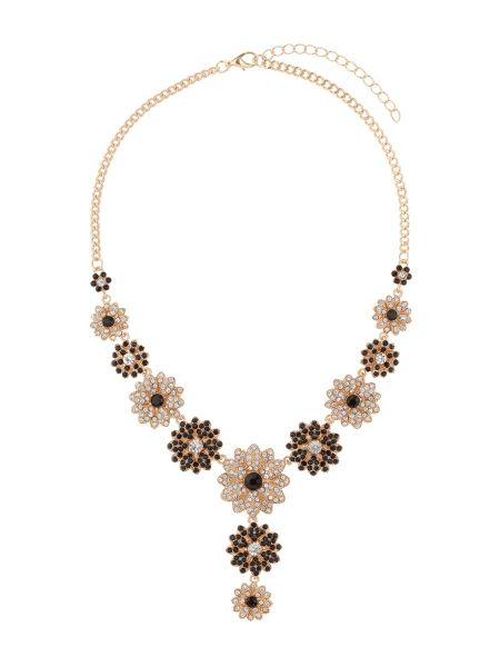 Mikey Crystal flowers linked necklace