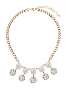 Drop crystals pearls linked necklace