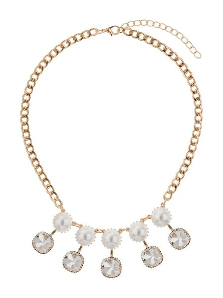 Mikey Drop crystals pearls linked necklace