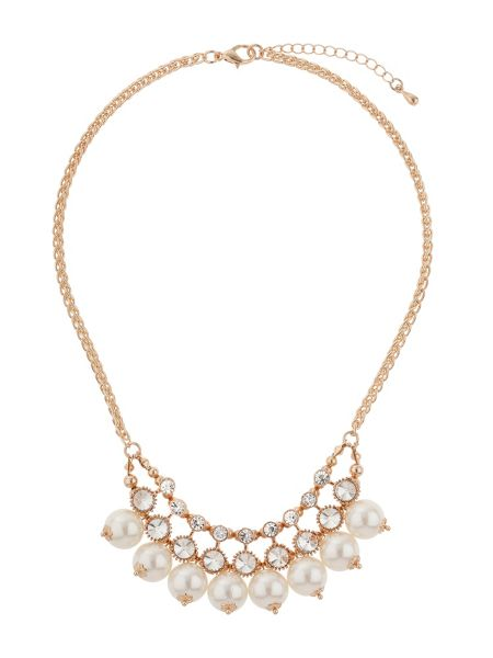 Mikey Drop pearls crystals linked necklace
