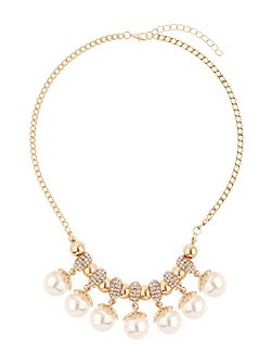 Crystal rings hanging pearls necklace