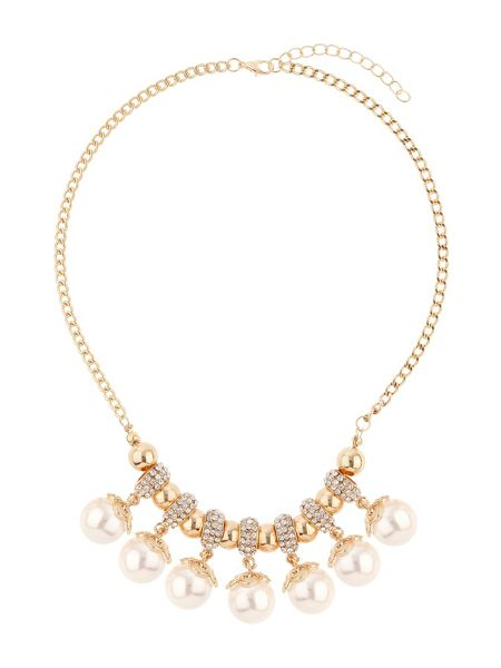 Mikey Crystal rings hanging pearls necklace