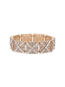 Square crystal blocks elastic bracelet