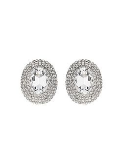 Oval crystal marquise clip on earring