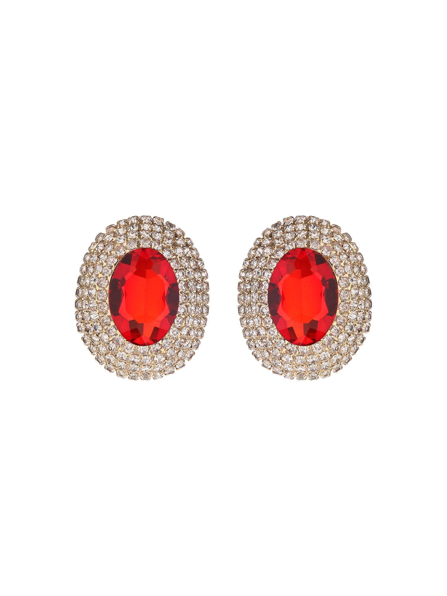 Mikey Oval crystal marquise clip on earring Red