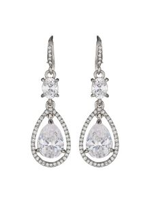 Long drop oval crystal earring