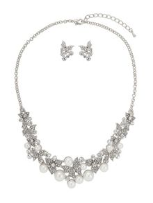 Mikey Butterfly Crystal Pearl Linked Set