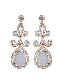 Oval stone drop design earring