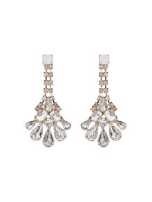 Crystal chain drop flower earring
