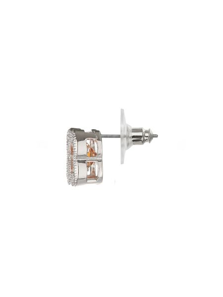 Mikey Cross Square Cubic Stud Earring