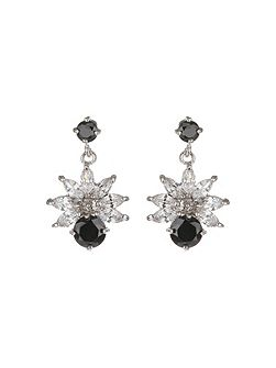 Cubic Drop Flower Stud Earring