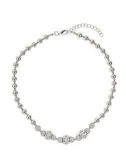 Cubic crystal triple ring balls necklace