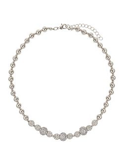Cubic crystal triple balls necklace