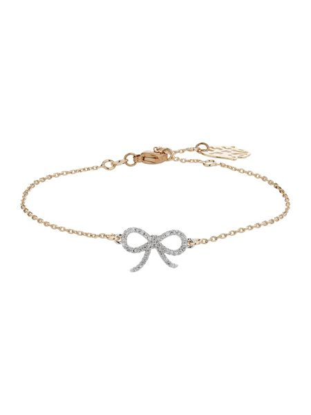 Mikey Crystal bow gold chain bracelet
