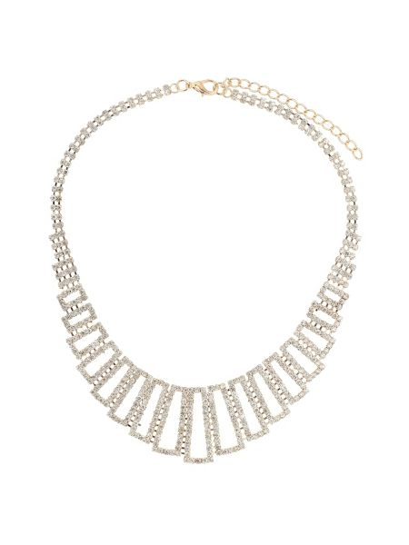 Mikey Rectangle crystal links crystal necklace