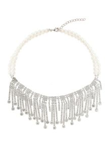 Mikey Hanging crystal llinked pearl necklace