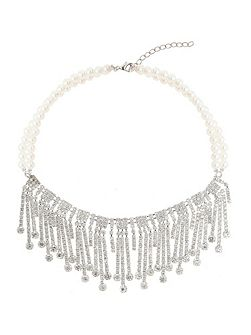 Hanging crystal llinked pearl necklace