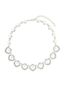 Oval rect crystal pearl centre necklace
