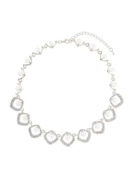 Mikey Oval rect crystal pearl centre necklace