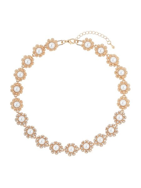 Mikey Daisy flower pearl linked necklace