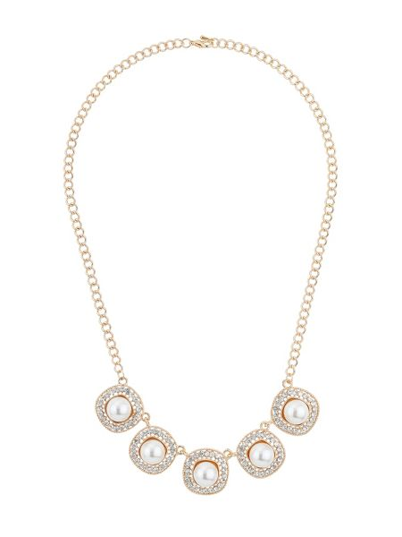 Mikey Square raised pearl crystal linked neckl
