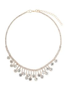 Drop crystal linked crystals necklace