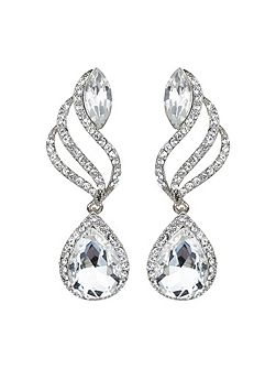 Twisted drop large crystal earring