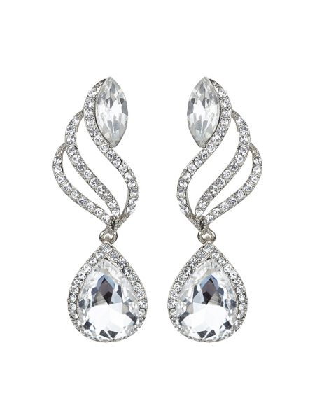 Mikey Twisted drop large crystal earring