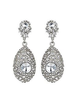 Oval filligree crystal centre earring