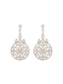 Mikey Round filligree long drop earring
