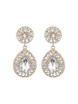 Dual crystal stone oval drop earring