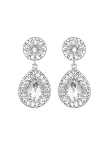 Mikey Dual crystal stone oval drop earring