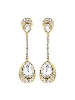 Dual stone long drop earring