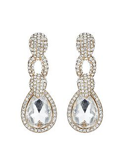Triple link marquise stone earring