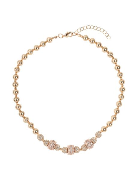 Mikey Cubic crystal triple ring balls necklace