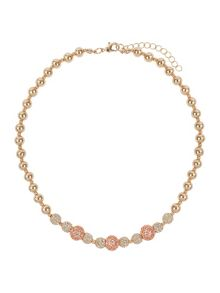 Mikey Cubic crystal triple balls necklace